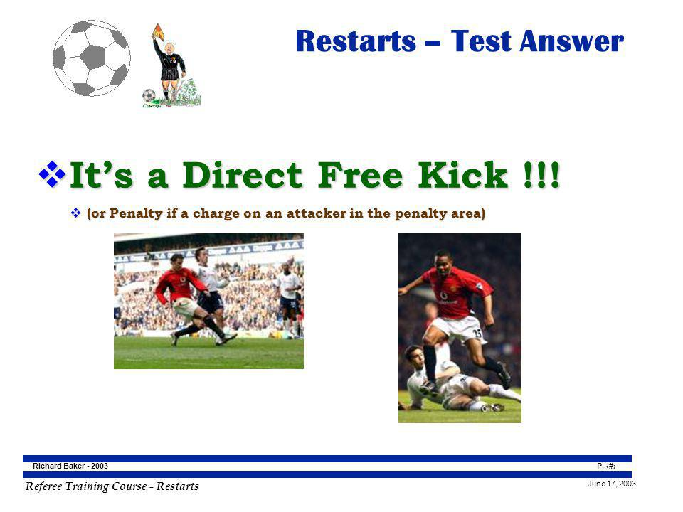 It's a Direct Free Kick !!! Restarts – Test Answer