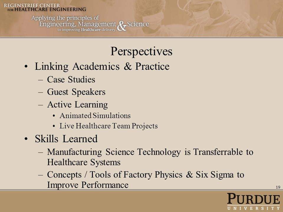 Perspectives Linking Academics & Practice Skills Learned Case Studies