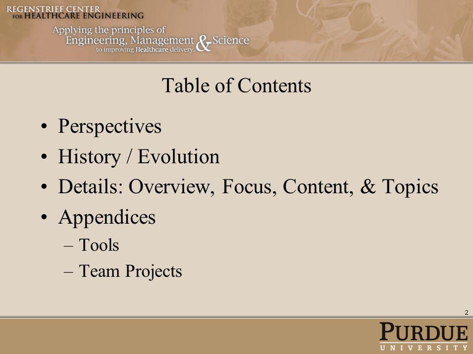 Details: Overview, Focus, Content, & Topics Appendices