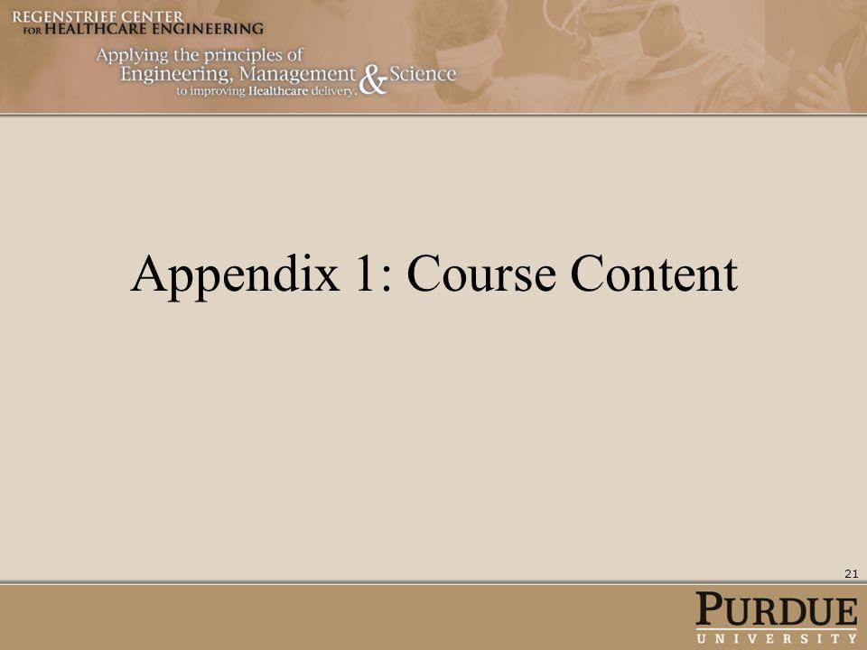 Appendix 1: Course Content