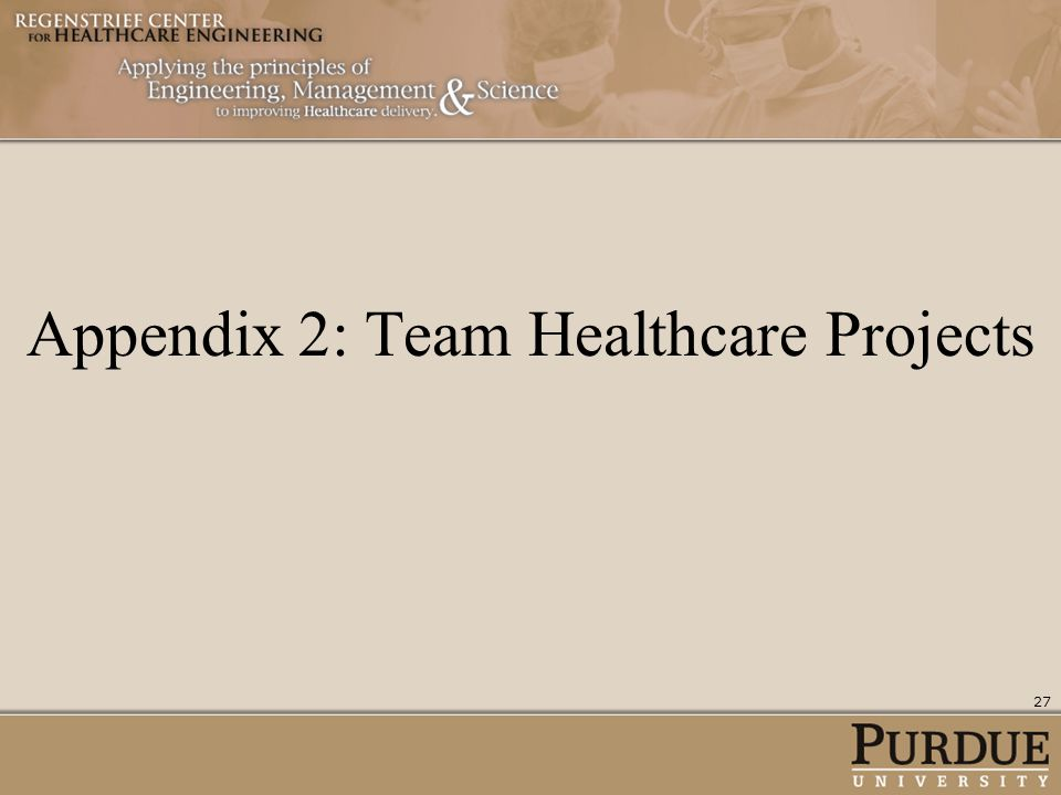 Appendix 2: Team Healthcare Projects