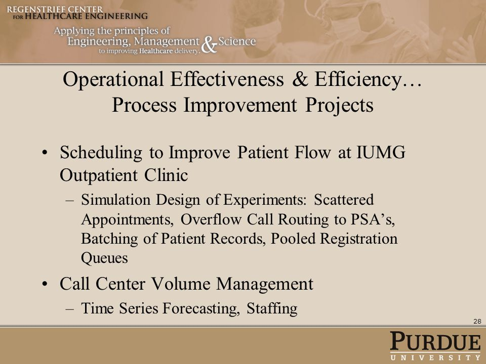Operational Effectiveness & Efficiency… Process Improvement Projects