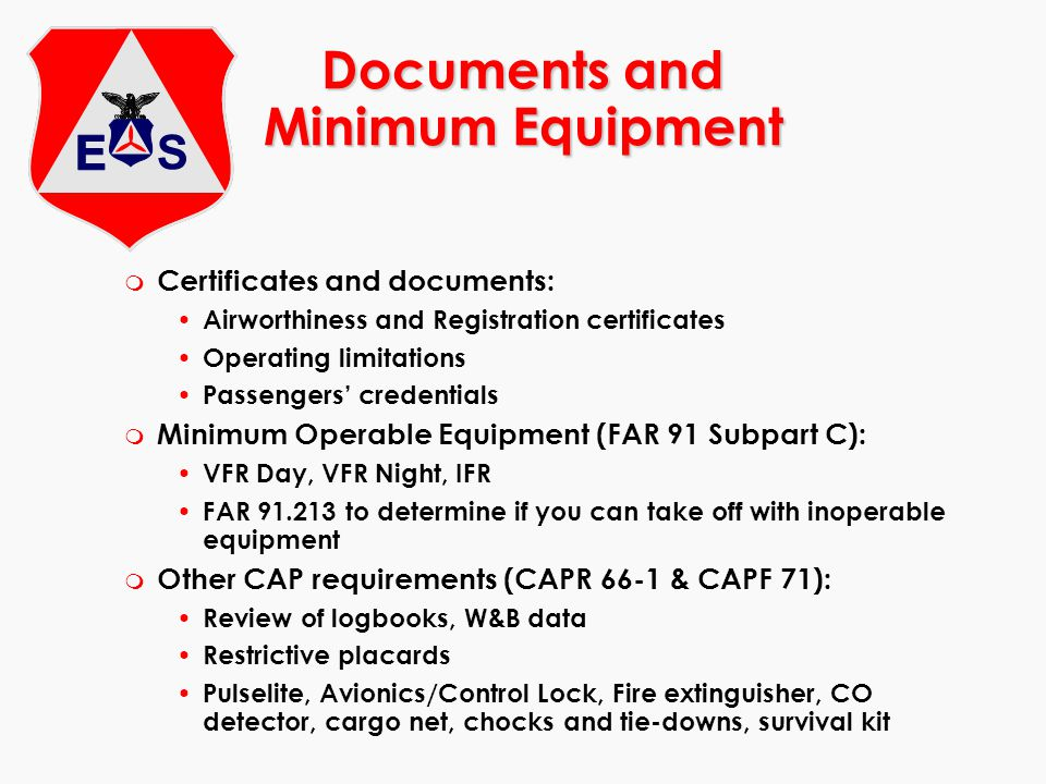 Documents and Minimum Equipment