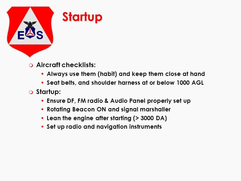 Startup Aircraft checklists: Startup: