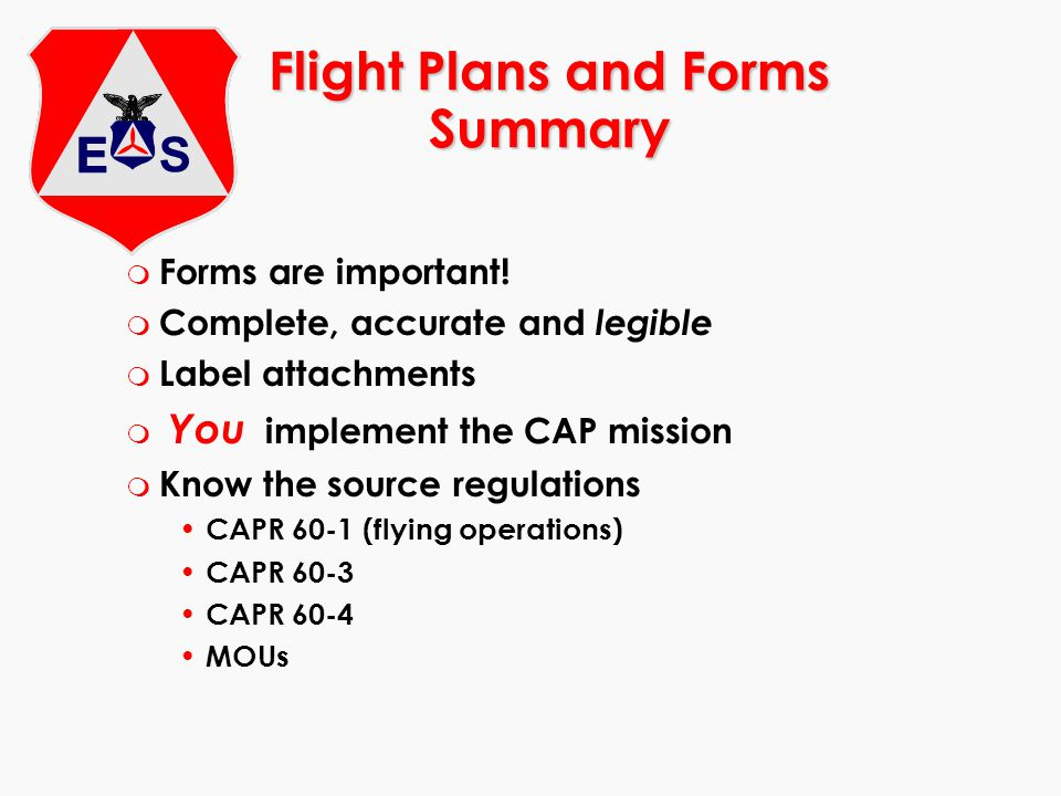 Flight Plans and Forms Summary