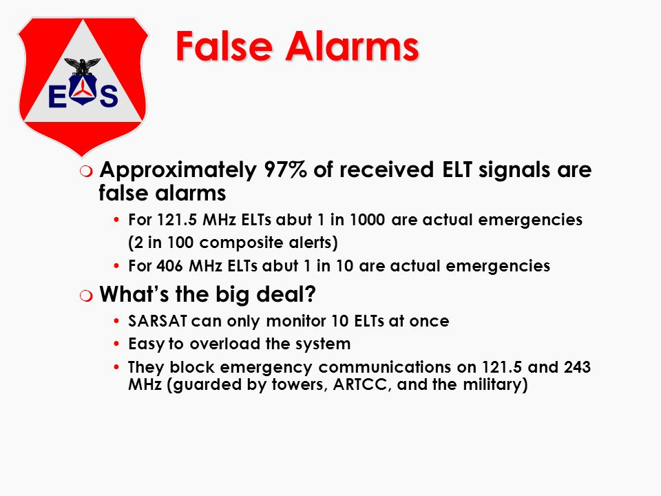 False Alarms Approximately 97% of received ELT signals are false alarms. For 121.5 MHz ELTs abut 1 in 1000 are actual emergencies.