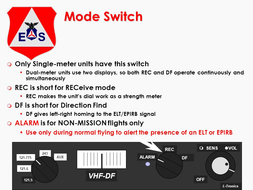 Mode Switch Only Single-meter units have this switch
