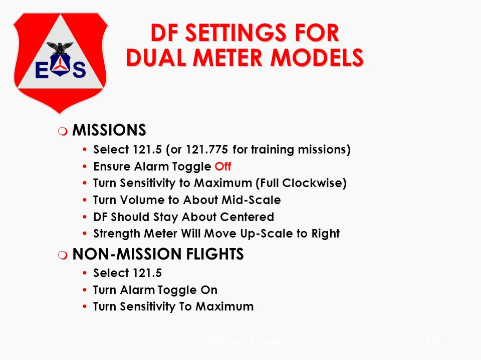 DF SETTINGS FOR DUAL METER MODELS