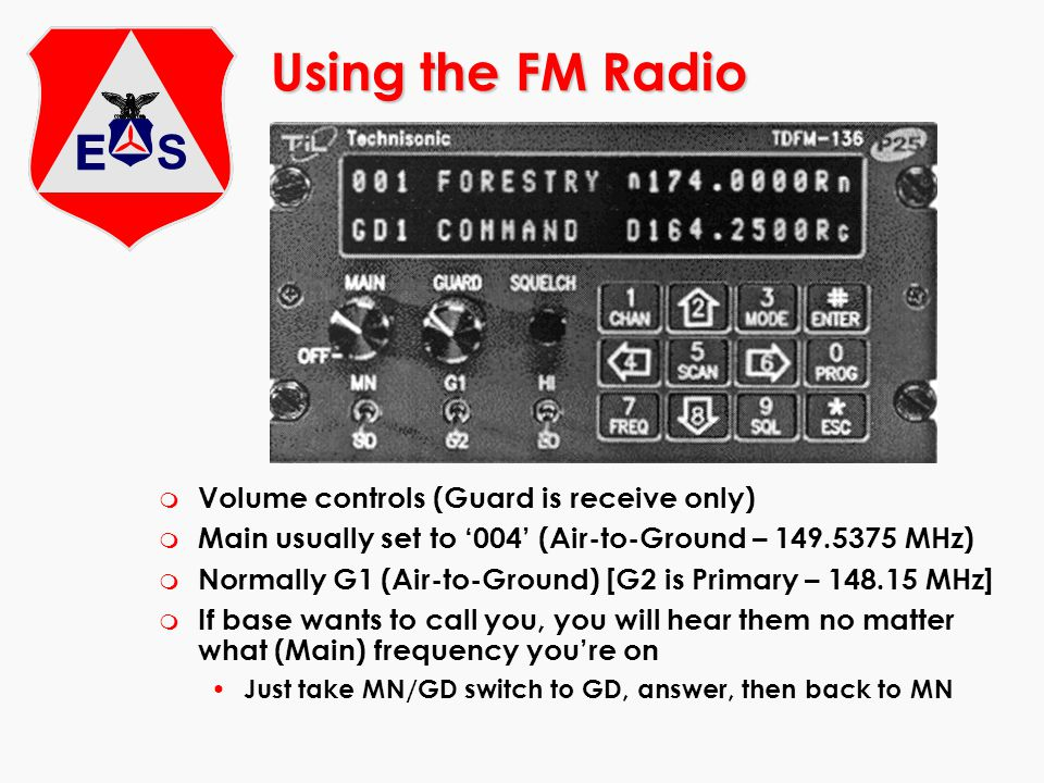Using the FM Radio Volume controls (Guard is receive only)