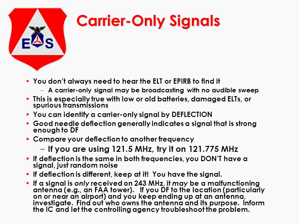 Carrier-Only Signals If you are using 121.5 MHz, try it on 121.775 MHz