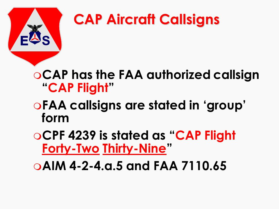 CAP Aircraft Callsigns