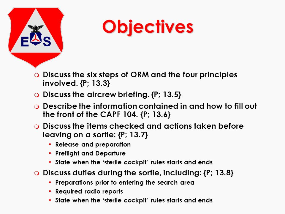 Objectives Discuss the six steps of ORM and the four principles involved. {P; 13.3} Discuss the aircrew briefing. {P; 13.5}