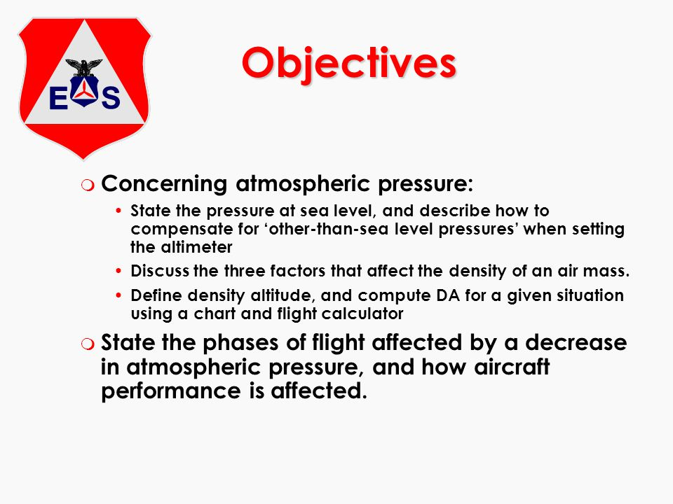 Objectives Concerning atmospheric pressure: