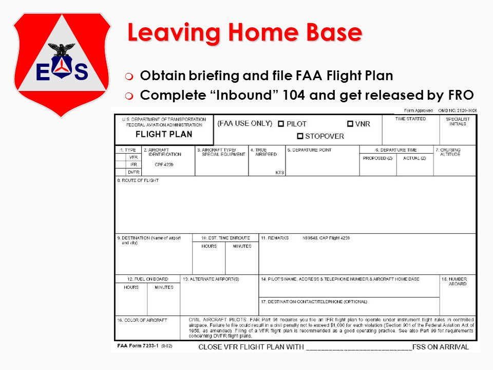 Leaving Home Base Obtain briefing and file FAA Flight Plan