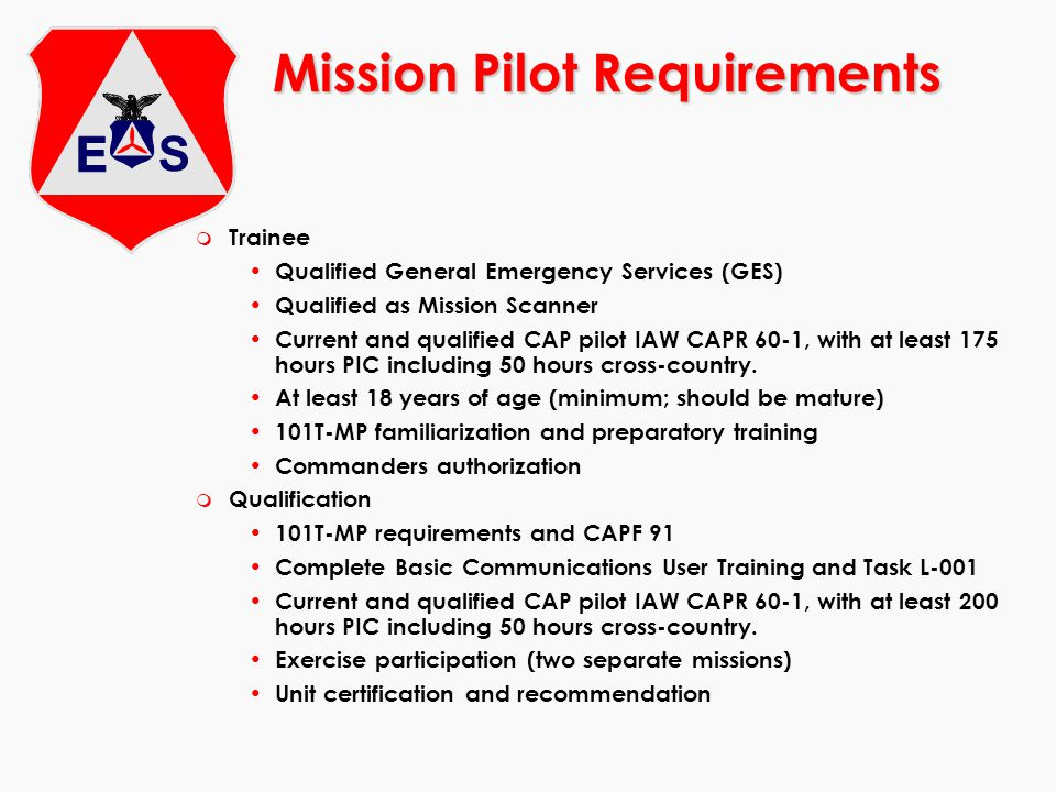Mission Pilot Requirements