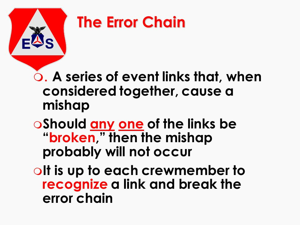 The Error Chain . A series of event links that, when considered together, cause a mishap.