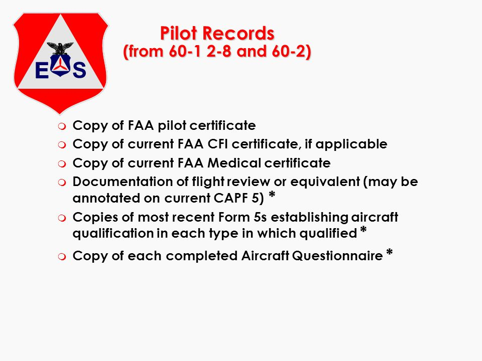 Pilot Records (from 60-1 2-8 and 60-2)