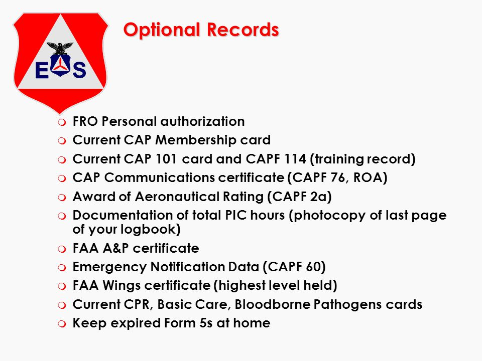 Optional Records FRO Personal authorization