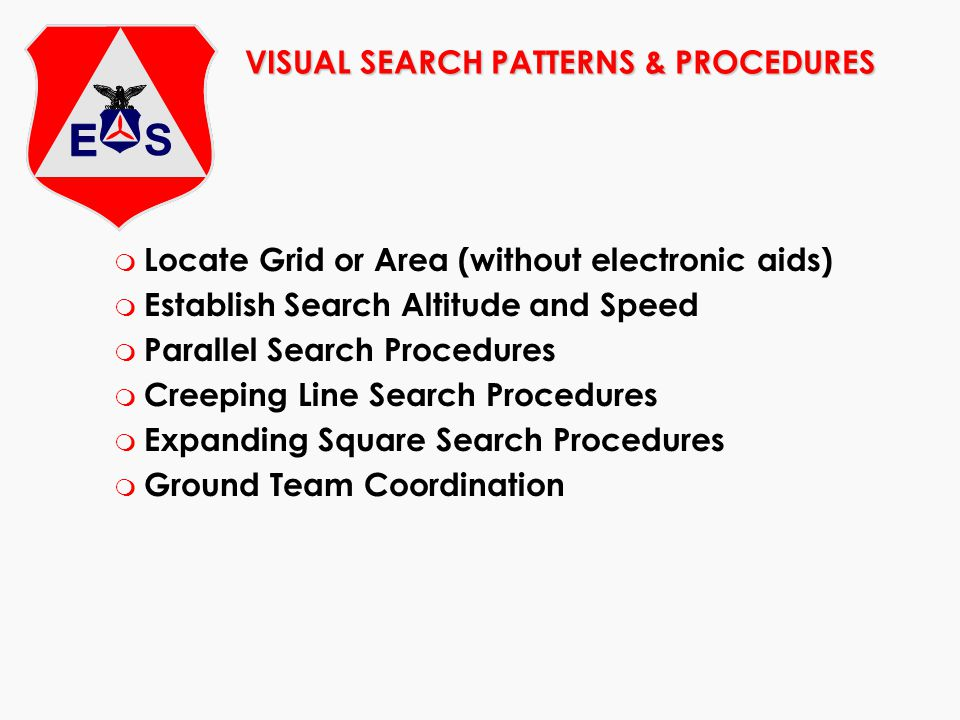 VISUAL SEARCH PATTERNS & PROCEDURES