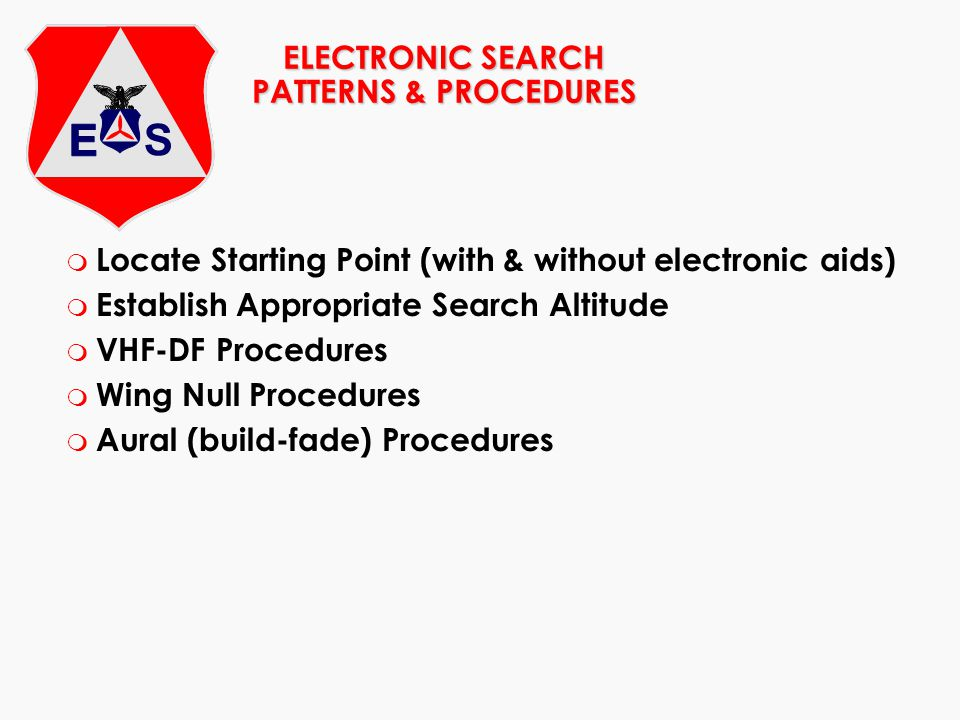 ELECTRONIC SEARCH PATTERNS & PROCEDURES