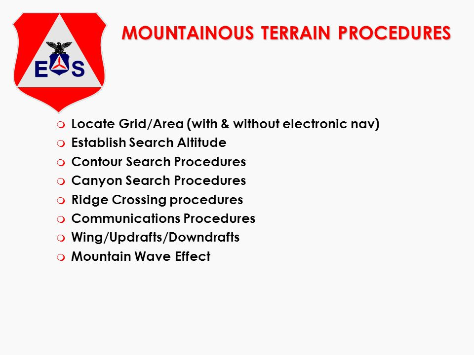 MOUNTAINOUS TERRAIN PROCEDURES