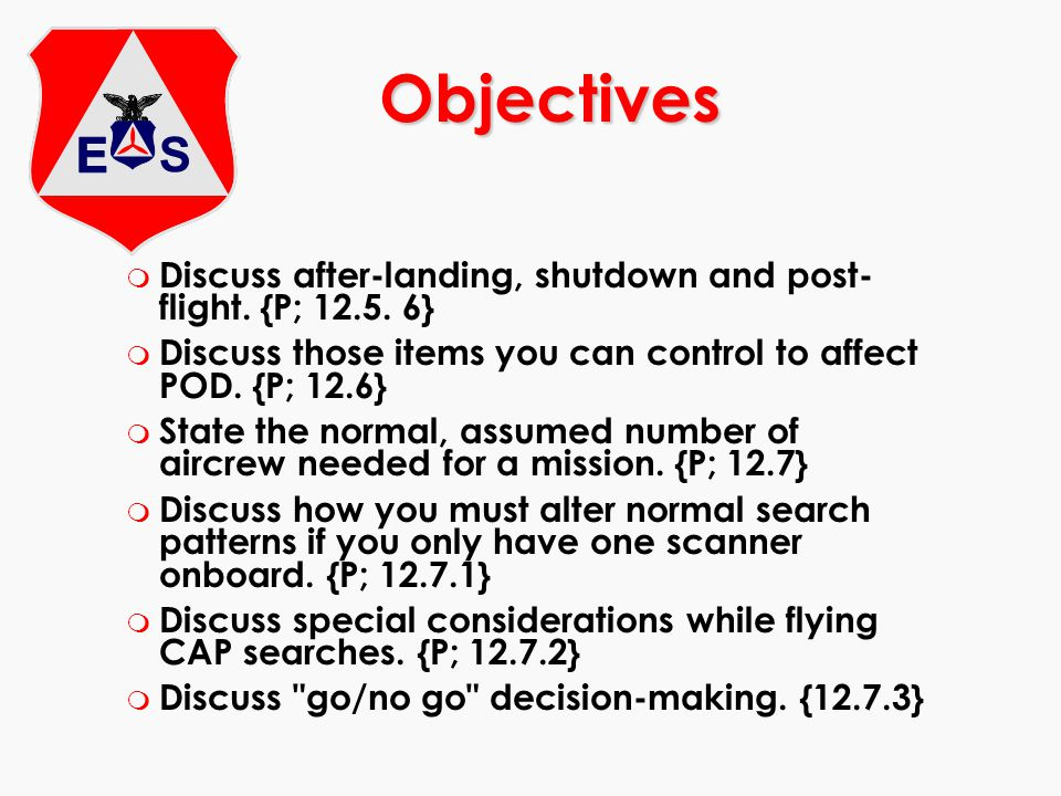 Objectives Discuss after-landing, shutdown and post-flight. {P; 12.5. 6} Discuss those items you can control to affect POD. {P; 12.6}