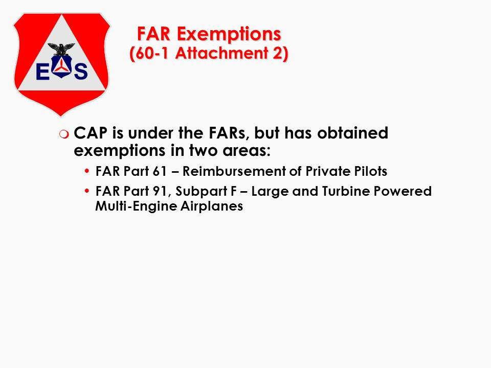 FAR Exemptions (60-1 Attachment 2)