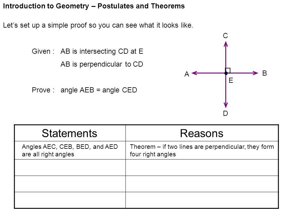 Statements Reasons Introduction to Geometry – Postulates and Theorems