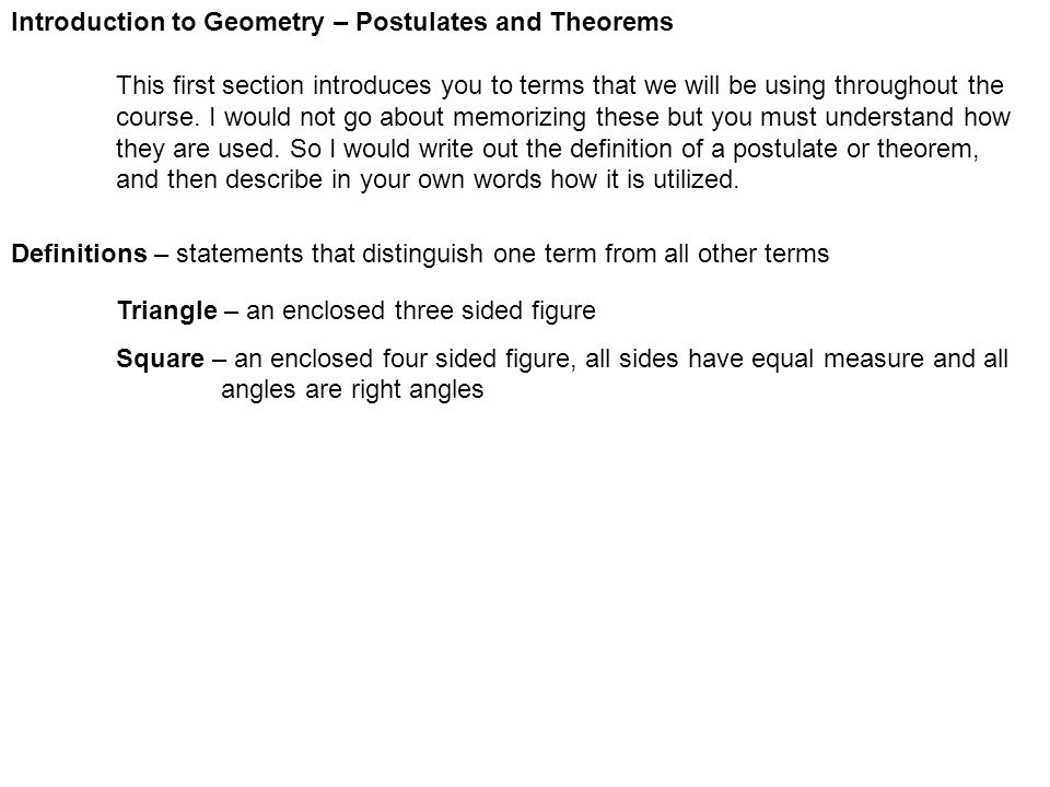 Introduction to Geometry – Postulates and Theorems