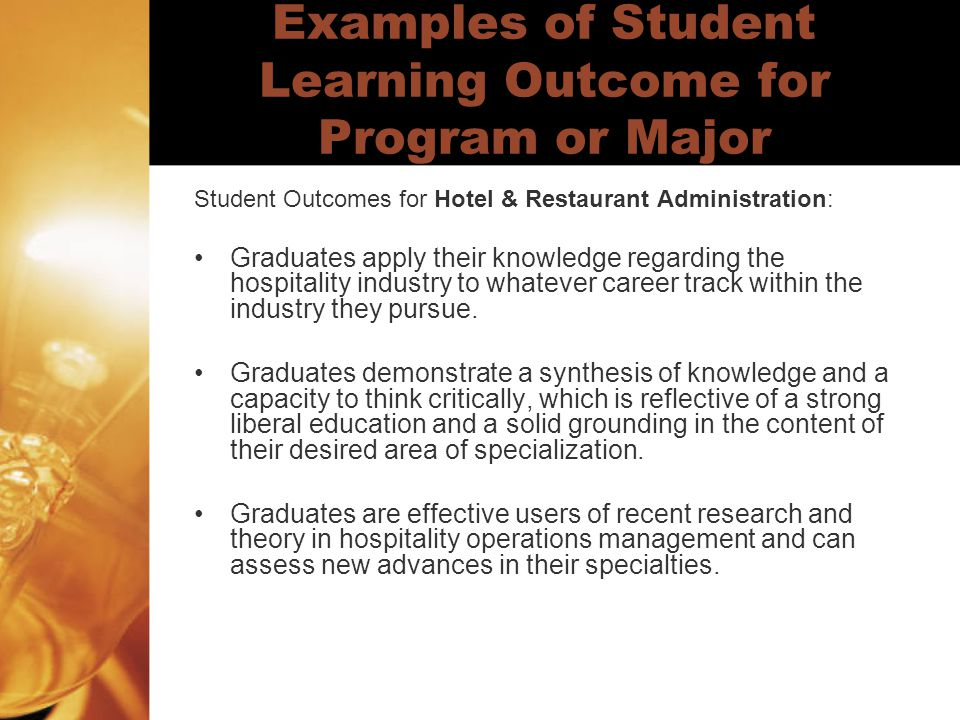 Examples of Student Learning Outcome for Program or Major