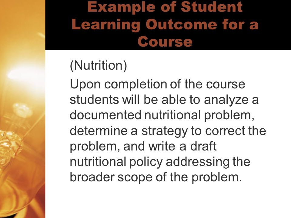 Example of Student Learning Outcome for a Course