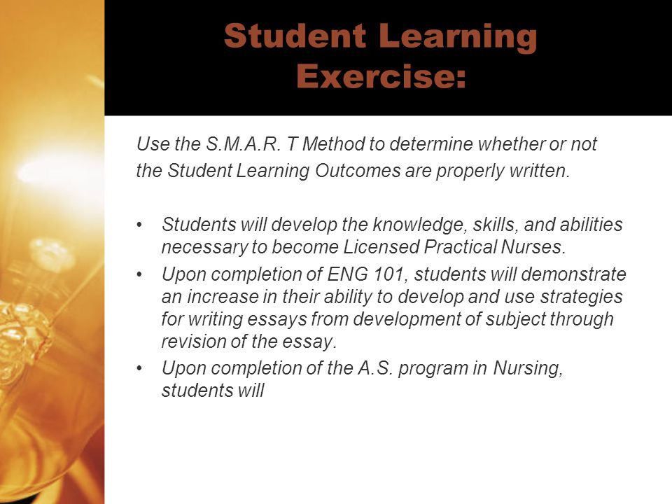 Student Learning Exercise: