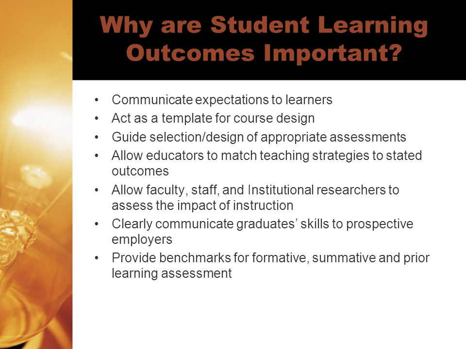 Why are Student Learning Outcomes Important