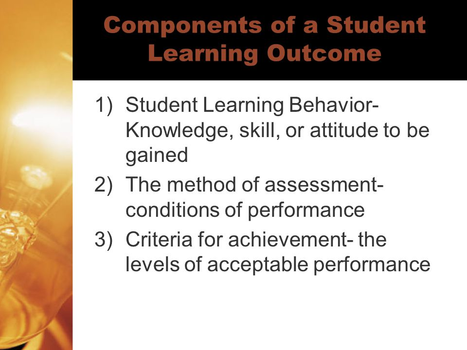 Components of a Student Learning Outcome
