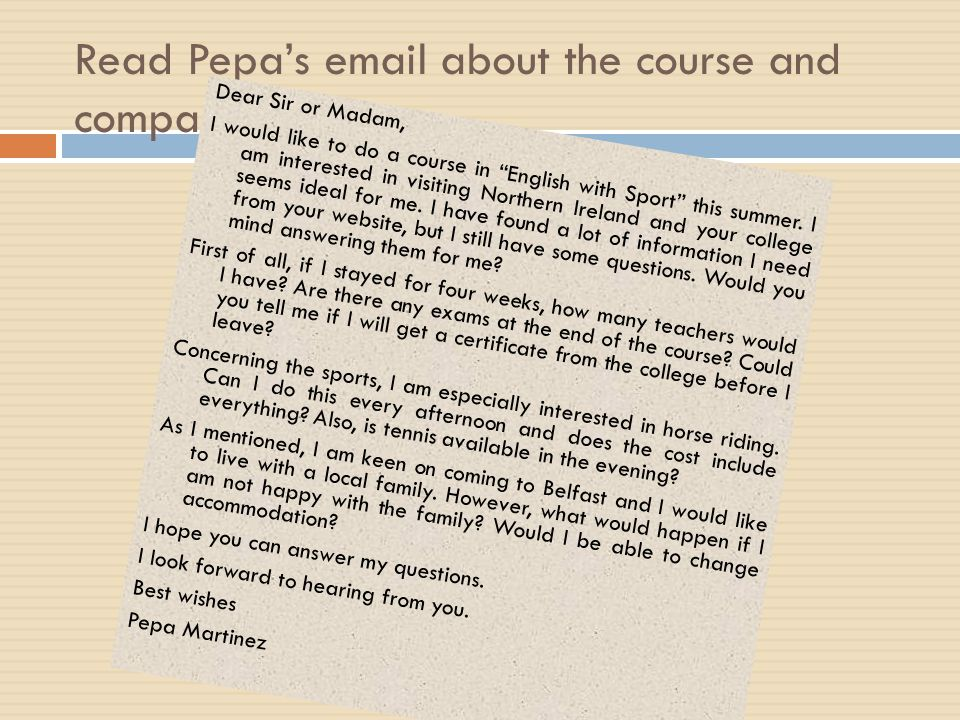 Read Pepa's email about the course and compare.