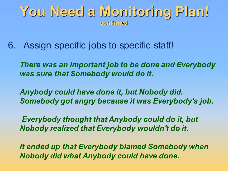 You Need a Monitoring Plan! continued