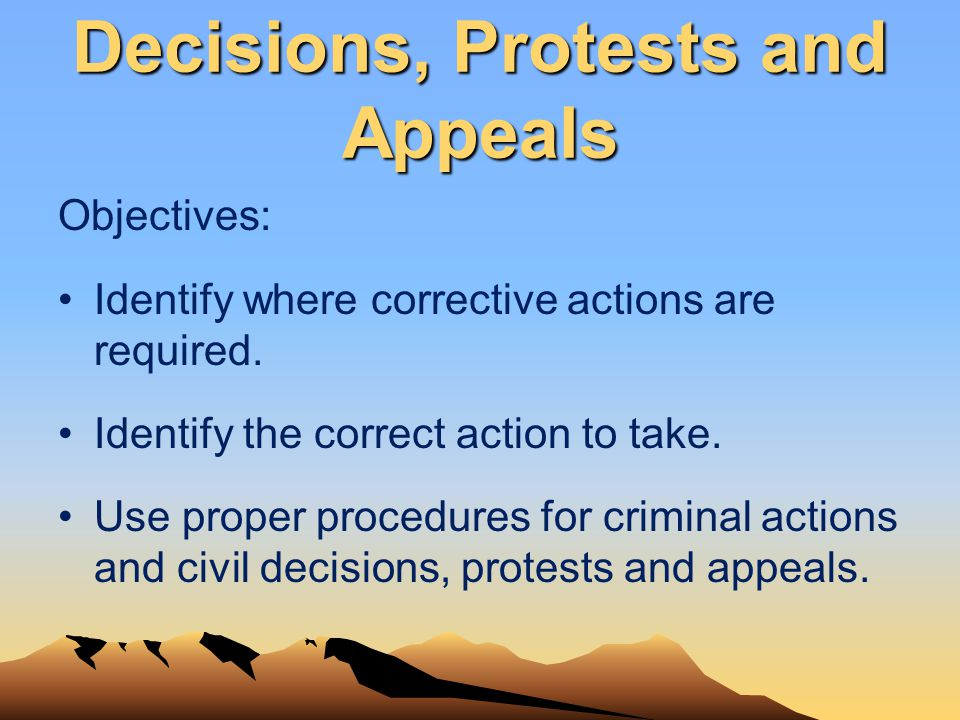 Decisions, Protests and Appeals