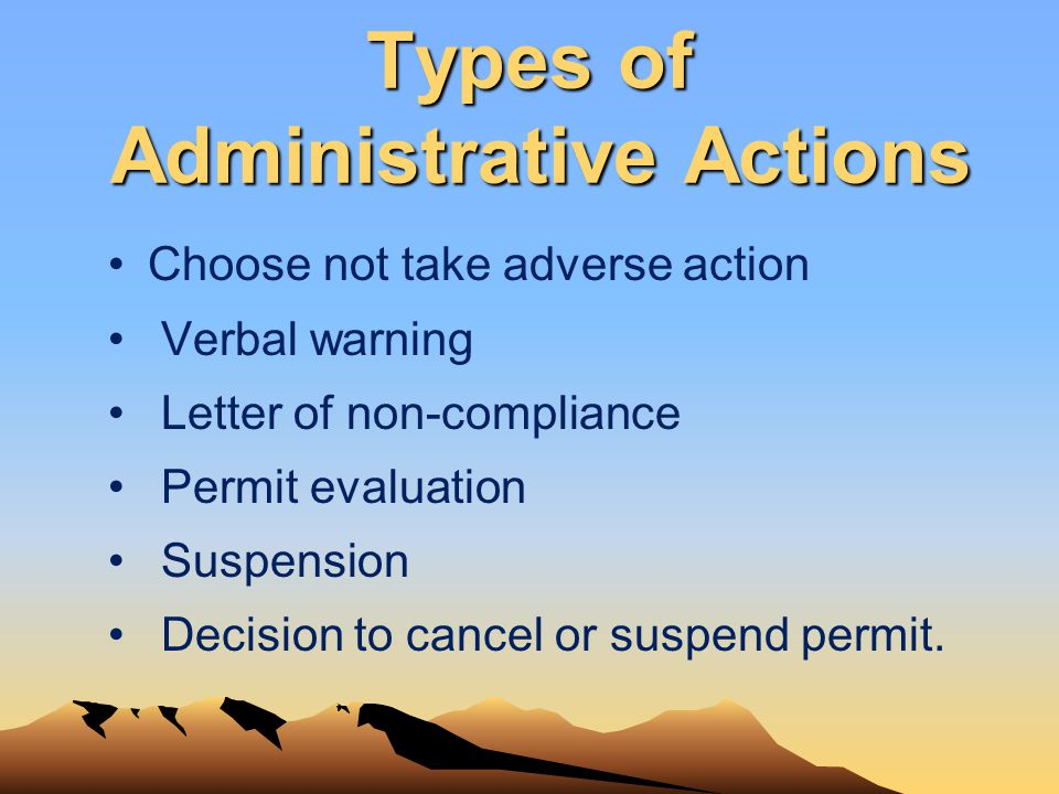 Types of Administrative Actions