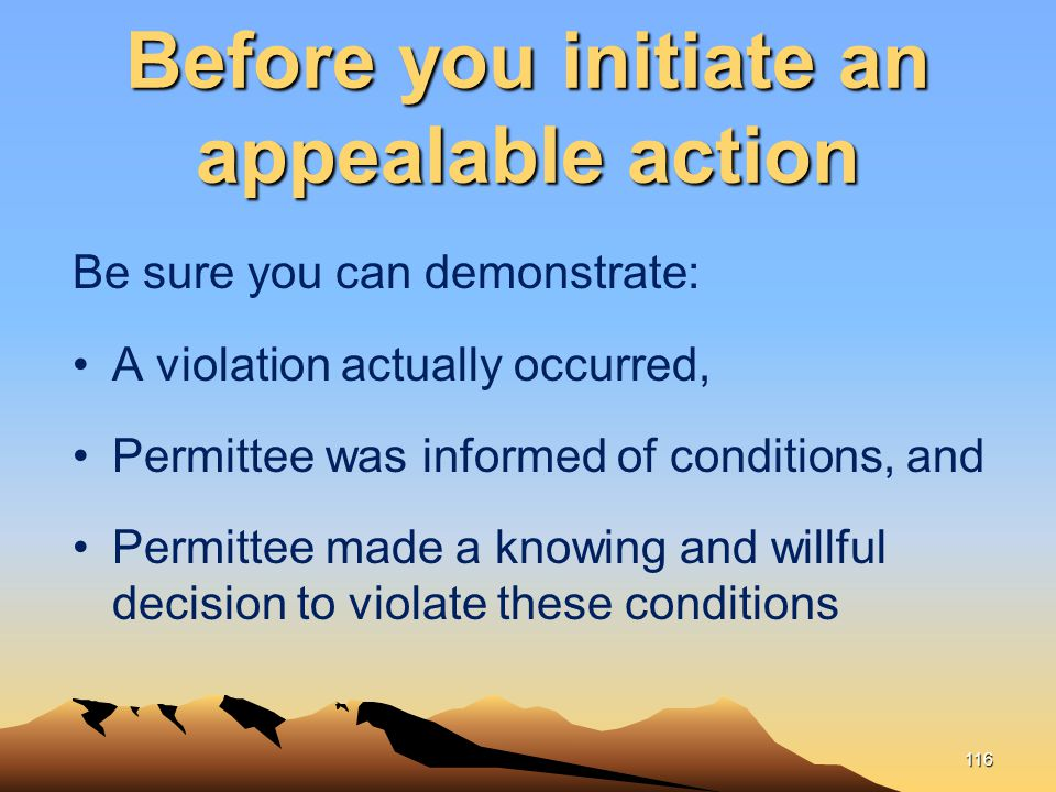 Before you initiate an appealable action