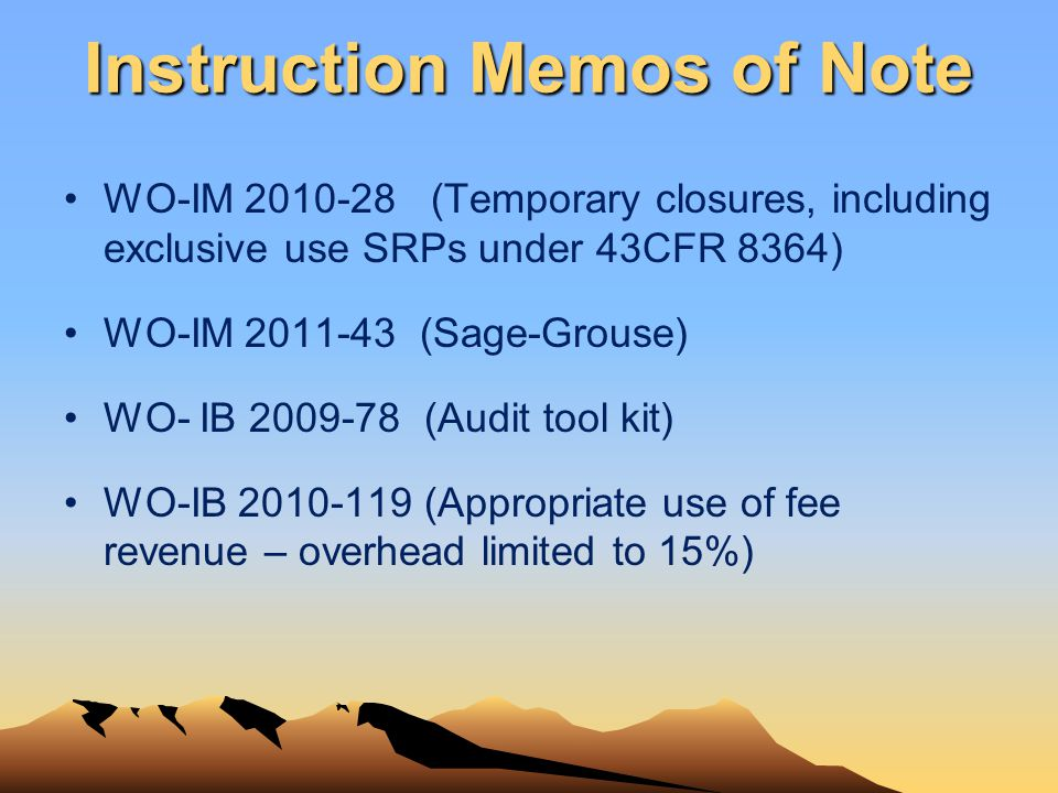 Instruction Memos of Note