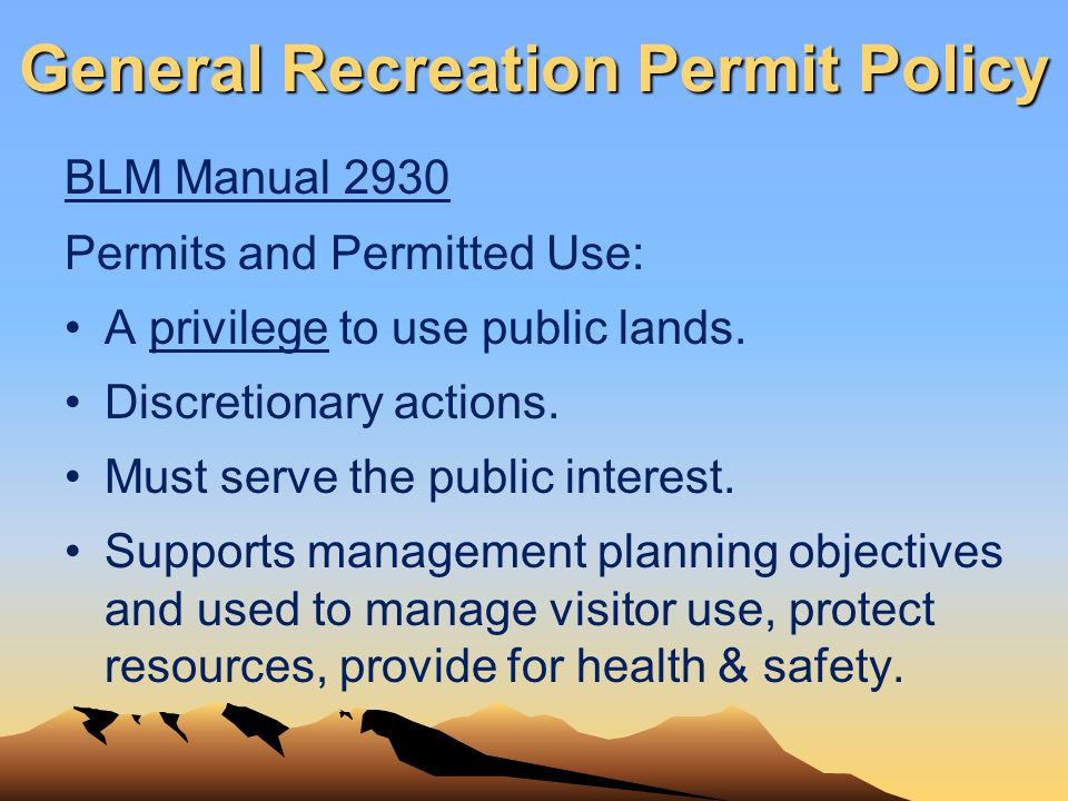 General Recreation Permit Policy