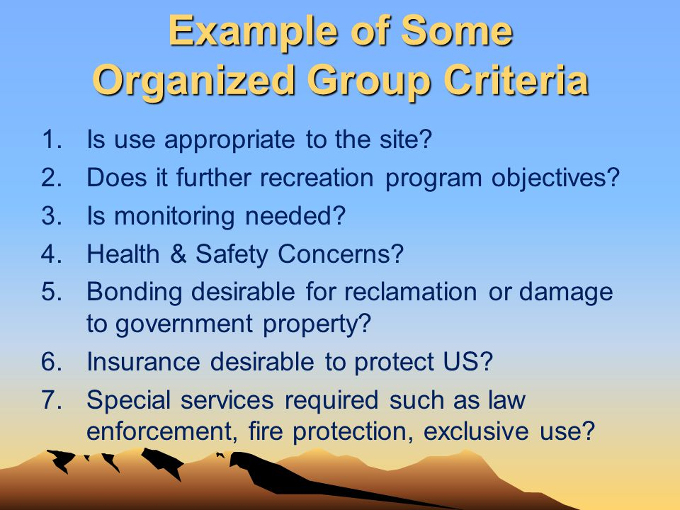 Example of Some Organized Group Criteria