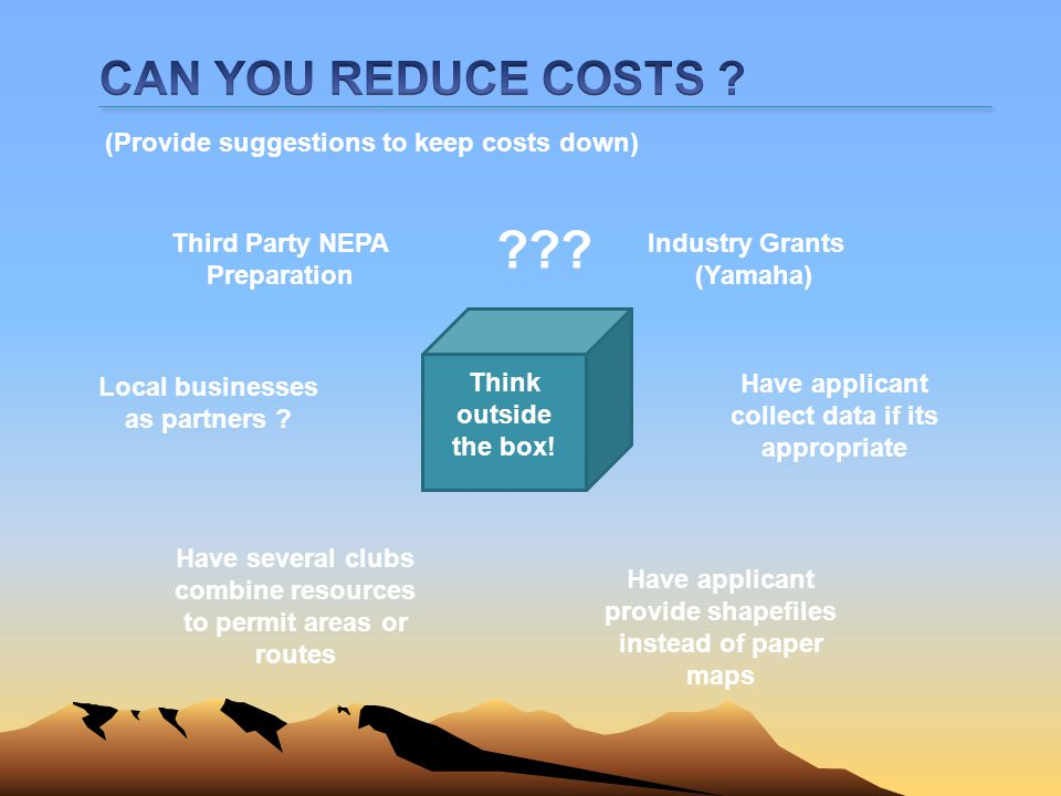 CAN YOU REDUCE COSTS (Provide suggestions to keep costs down)