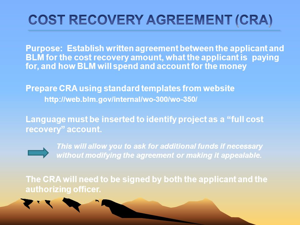 COST RECOVERY AGREEMENT (CRA)