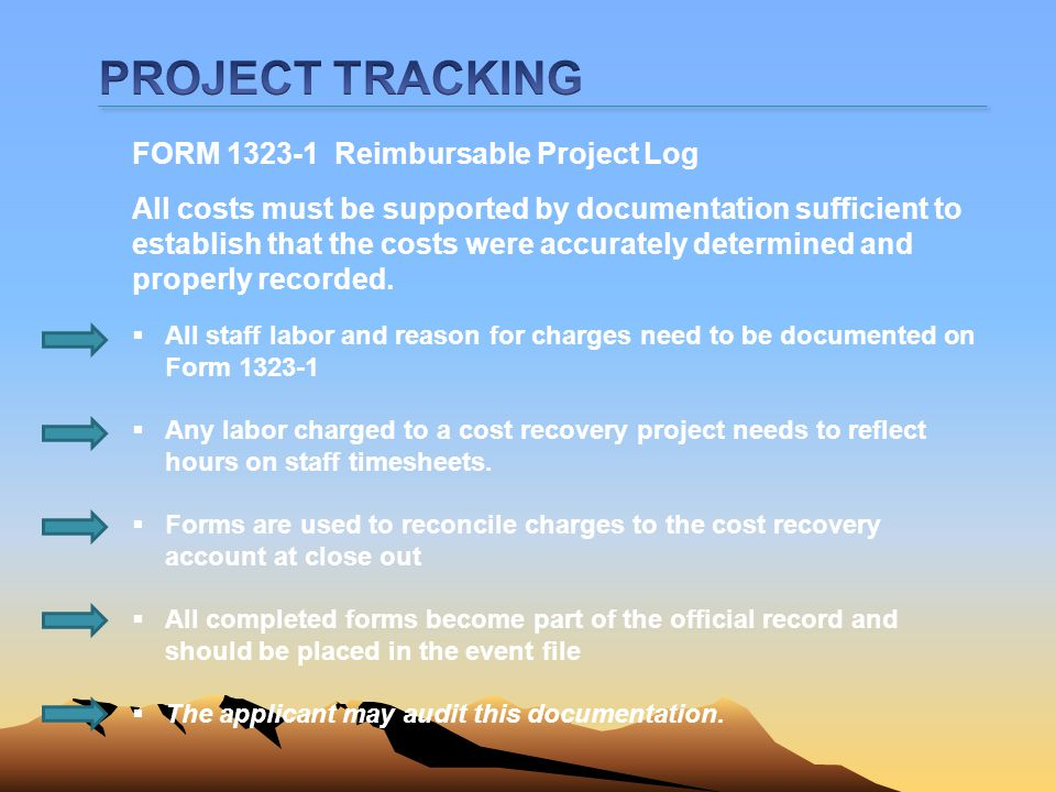 PROJECT TRACKING FORM 1323-1 Reimbursable Project Log
