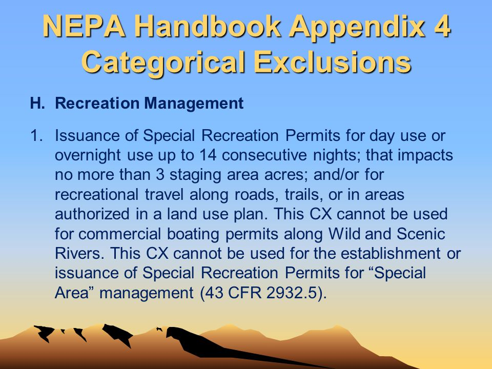 NEPA Handbook Appendix 4 Categorical Exclusions
