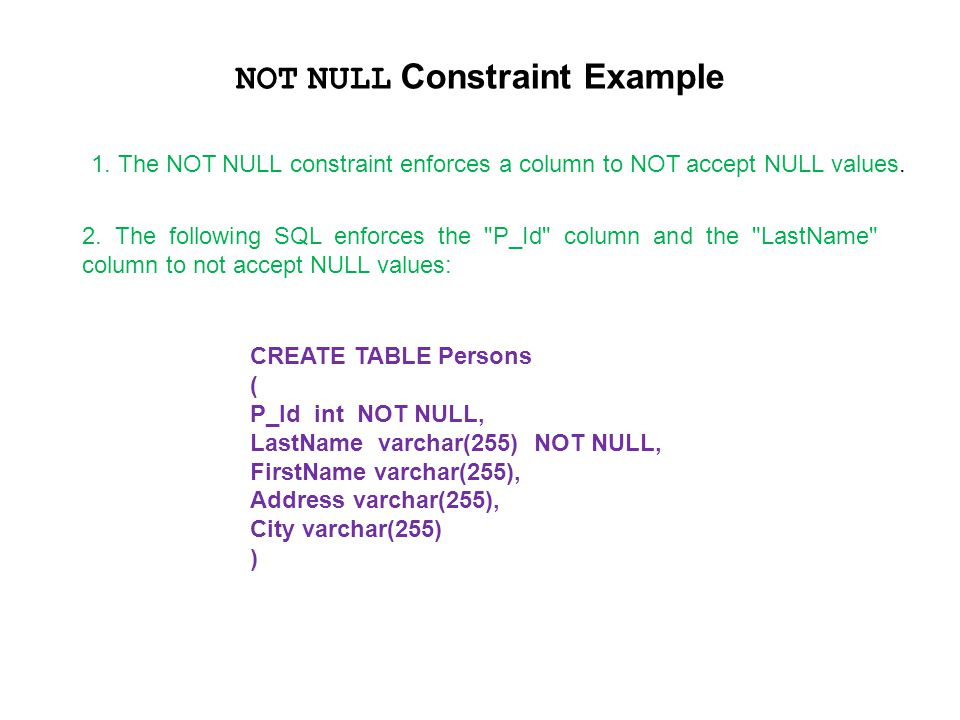NOT NULL Constraint Example