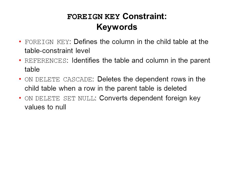 FOREIGN KEY Constraint: Keywords