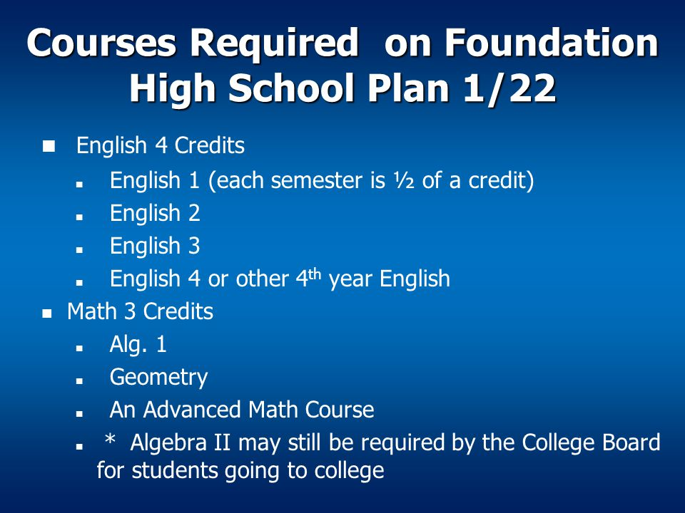 Courses Required on Foundation High School Plan 1/22