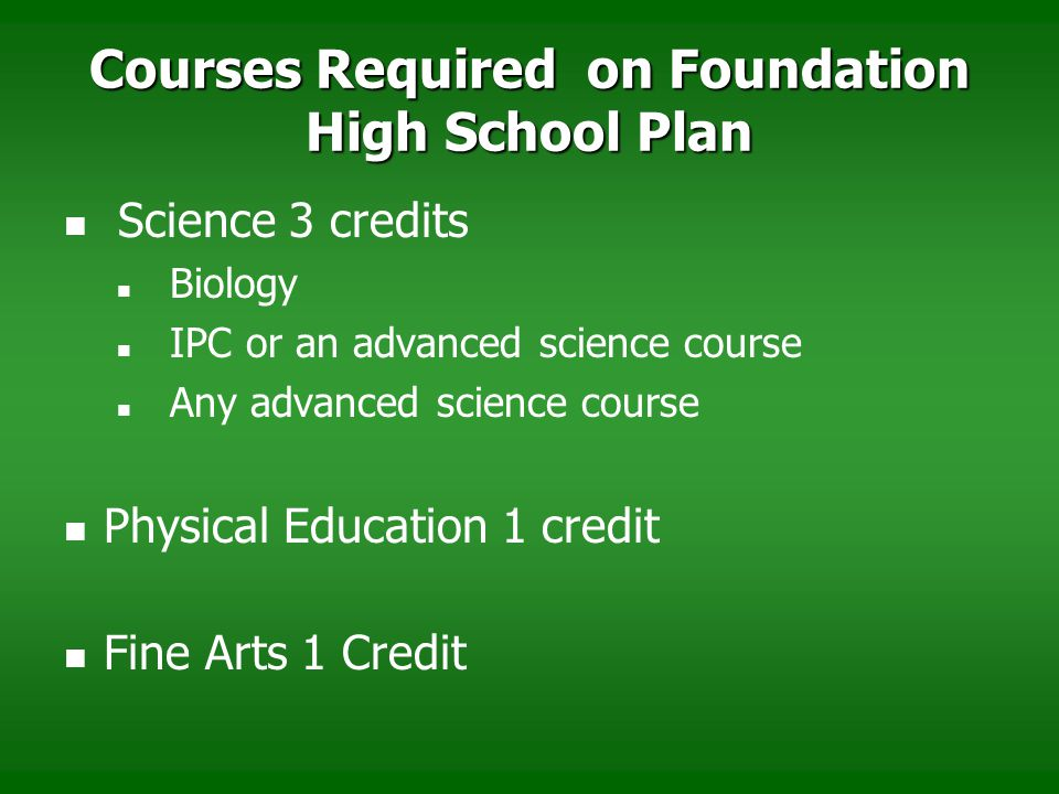 Courses Required on Foundation High School Plan